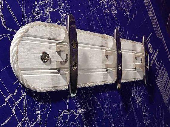 Wall Hook Rack   Stainless Steel Boat Cleat   Nautical Decor Coat Towel  Hooks   Cottage White   Beach House Ocean Seaside Chic   Marine Rope