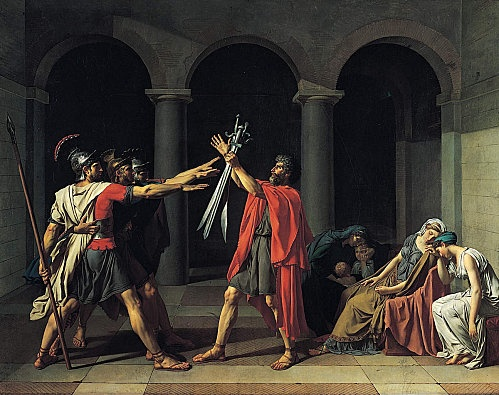 Oath of Horatii (1784) It depicts a scene from a Roman legend about a dispute between two warring cities; Rome and Alba Longa, when three brothers from a Roman family, the Horatii, agree to end the war by fighting three brothers from an Alba Longa family, the Curiatii. The three brothers, all of whom appear willing to sacrifice their lives for the good of Rome, are shown saluting their father who holds their swords out for them. Jacques-Louis David used allusions to ancient Rome to foretell…