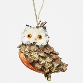 Owl pinecone ornament--Couple Small Cut Pom Poms for the Face and Google Eyes, Not sure about the Belly, maybe Bark?