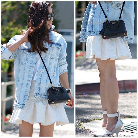 Oversized Denim Jacket, Prada Mini Bag, Alexander Wang White Pumps