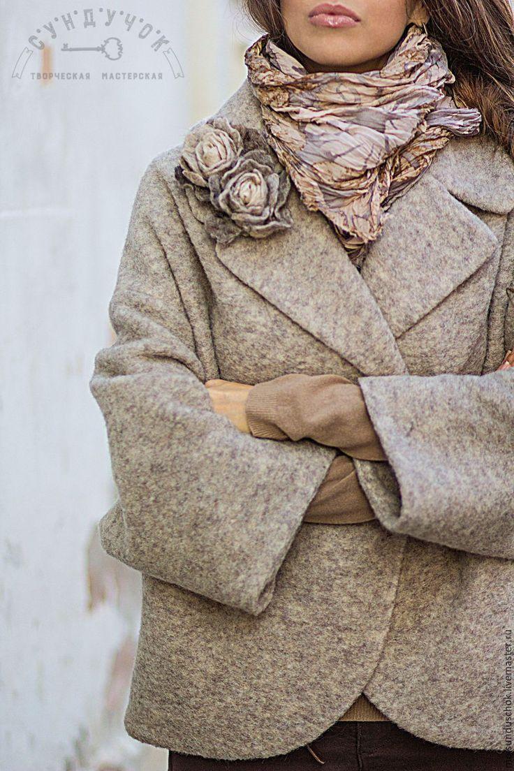 """short overcoat / Купить Полупальто """"Пастельная палитра весны"""" - бежевый, однотонный, полупальто, весенняя мода"""