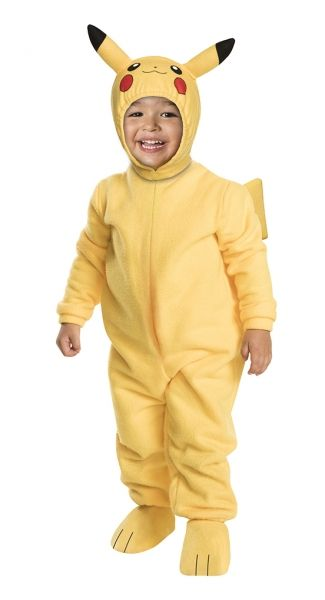 Pokemon Toddler Pikachu Costume - size 2T  This Deluxe Pikachu Costume transforms your child into the one and only Pikachu!  The costume headpiece comes with the little red cheeks and the adorable ears on the hood, so your little one will be ready to electrify the competition with his cute new look.