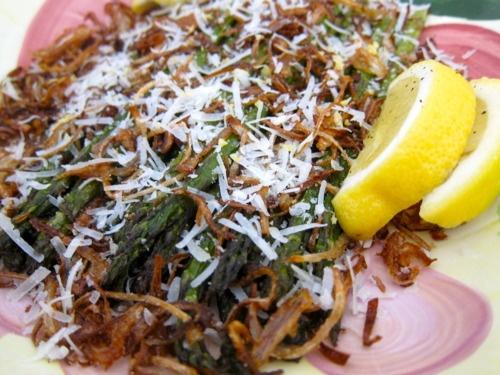 Roasted Asparagus with Fried Shallots & Pecorino on Tina's Nom Noms. Photo by Tina Corrado.