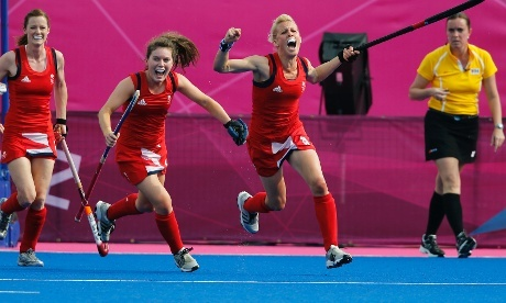 Britain's Alex Danson celebrates after scoring a goal against New Zealand during the women's field hockey bronze medal match . Britain won the bronze medal.