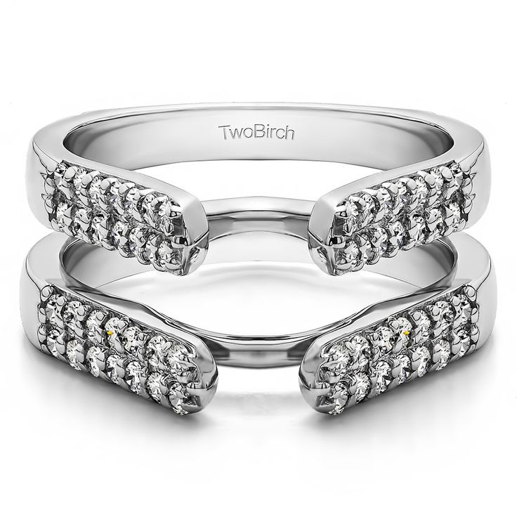 this ring enhancer has high shoulders which makes it a beautiful cathedral style jacket ring guard this ring enhancer has a double row of round stones - Wedding Ring Guards