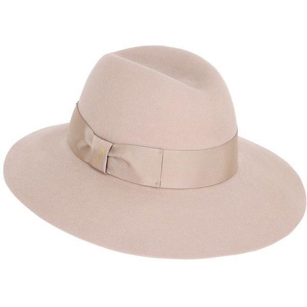 Borsalino Women Claudette Rabbit Fur Felt Wide Brim Hat ($260) ❤ liked on Polyvore featuring accessories, hats, beige, borsalino hats, rabbit hat, borsalino, rabbit felt hat and felt hat