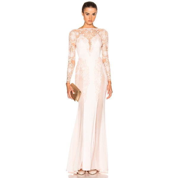 Zuhair Murad Embroidered Long Fitted Dress ($1,540) ❤ liked on Polyvore featuring dresses, long tight dresses, sequin dress, sequin cocktail dresses, pink sequin cocktail dress and long beaded dress