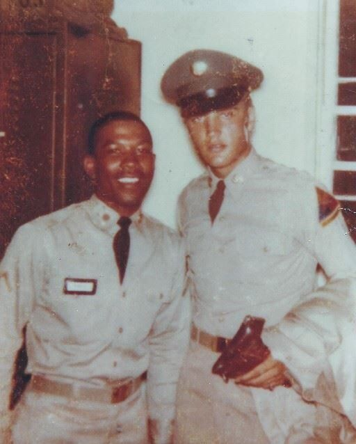 Elvis with Eugene Pierce.They went through basic training together in Fort Hood,TX.1958.