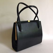 Chamelle By Essell 1960s Vintage Handbag Black Faux Leather Fabric Lined - A004