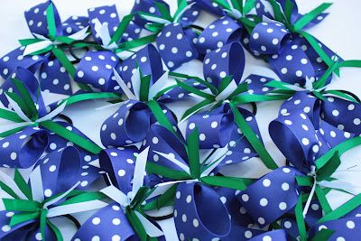 Cute!... Made for a cheerleading team, but would also make cute party favors or wedding party accessory...