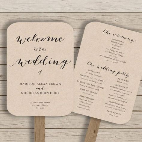 This wedding program fan template is available for instant download as a .docx file for you to edit with your own details in MS Word. The first listing image shows the template printed on kraft card for a rustic look. ***The background of the design is transparent - print on kraft for a kraft background, print on white for a white background etc.***HOW IT WORKS:-Purchase your files and download instantly -Install suggested free font (link included)-Use MS Word to edit the text and…