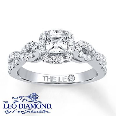 Leo Diamond Ring 7/8 Carat tw 14K White Gold. #LeoDiamond #VisiblyBrighter