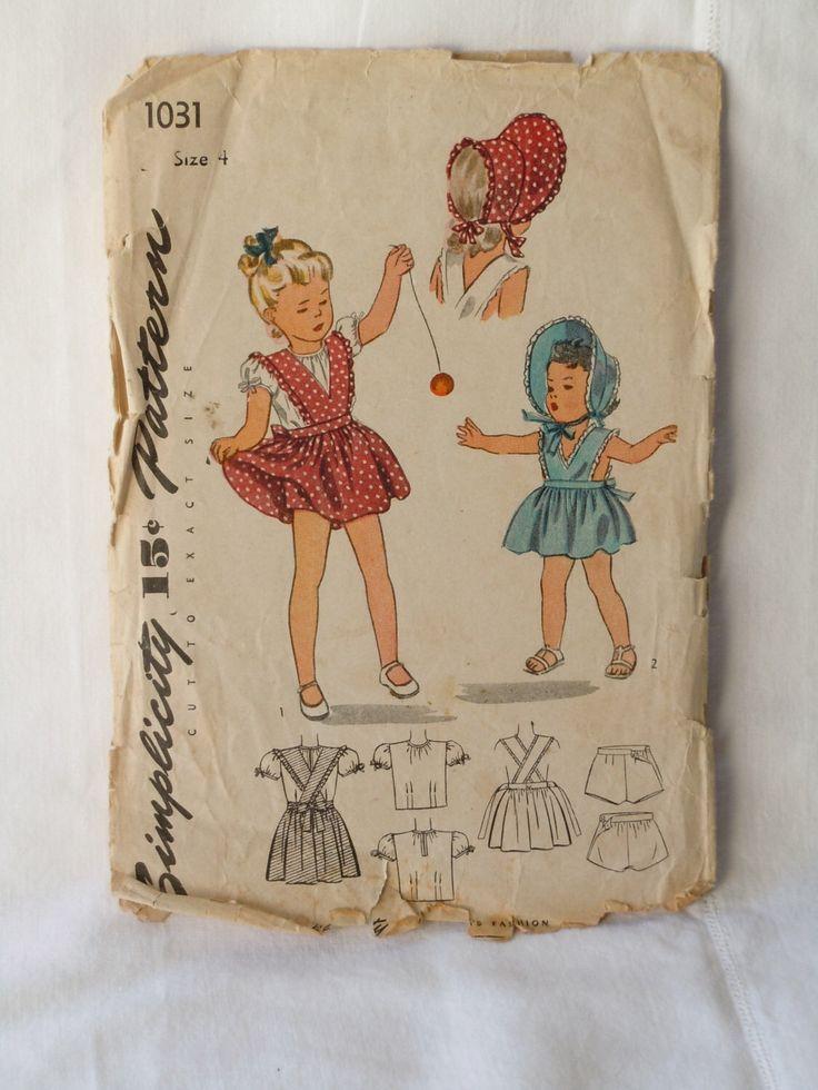 Modello di vestito ragazze semplicità 1944 di TheEstateJunky su Etsy https://www.etsy.com/it/listing/203544944/modello-di-vestito-ragazze-semplicita
