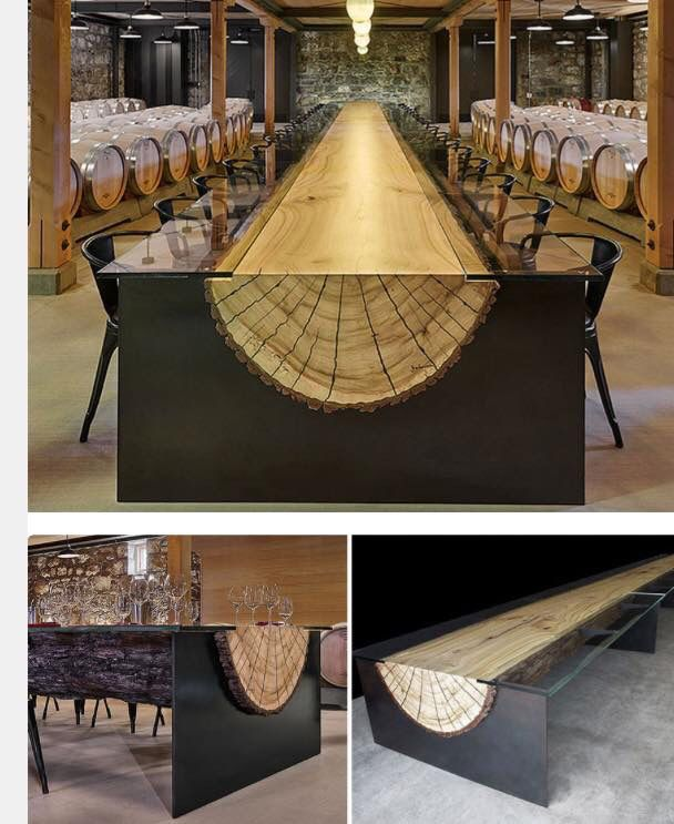 Stunning dining table for restaurant or cellar. Steel, glass and metal with wood inlay