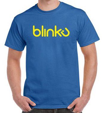 Camiseta para hombre : Color royal, diseño Blinku 4 serigrafiado en tinta color yellow