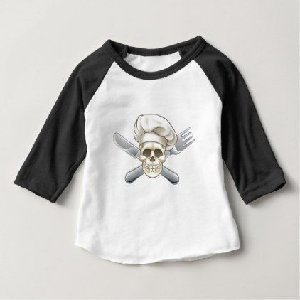 Knife and Fork Pirate Chef Baby T-Shirt - Halloween happyhalloween festival party holiday
