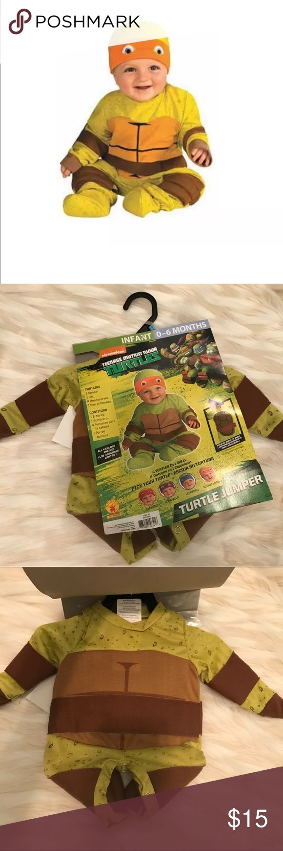 Teenage Mutant Ninja Turtles baby costume Teenage Mutant Ninja Turtle Multi-Pack Infant Boys Halloween Costume, 0-6 Month. Package contains 1 Jumper, 1 Hat, 4 Headscarves (The 4 TMNT) and 1 pair of booties.   Please ask me questions. Costumes Superhero