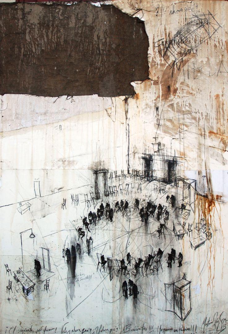 De Burócratas y Padrinos / mixta sobre lino / 200 x 140 cm / 2013