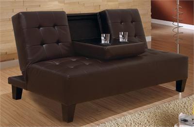 Aristo Dark Brown Leatherette Futon Sofa