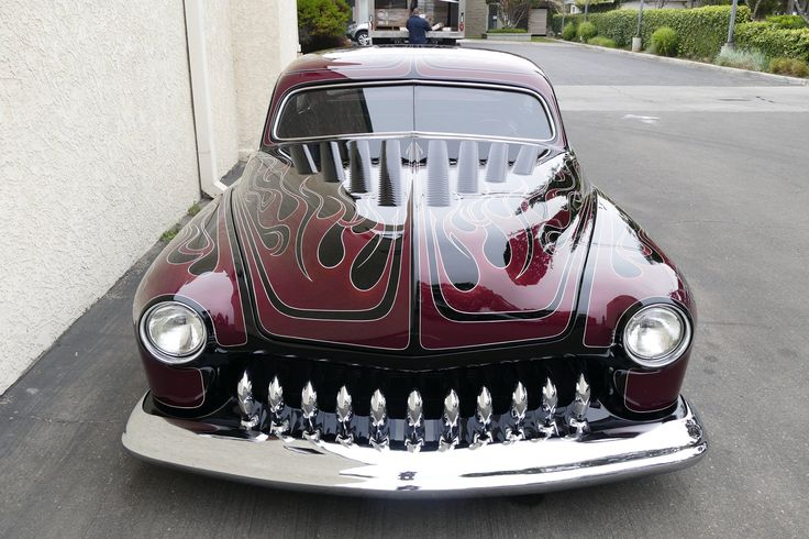1951 Merc in flames and black paint with a nearly perfect chop top with a 49/50 rear window. Pic 6