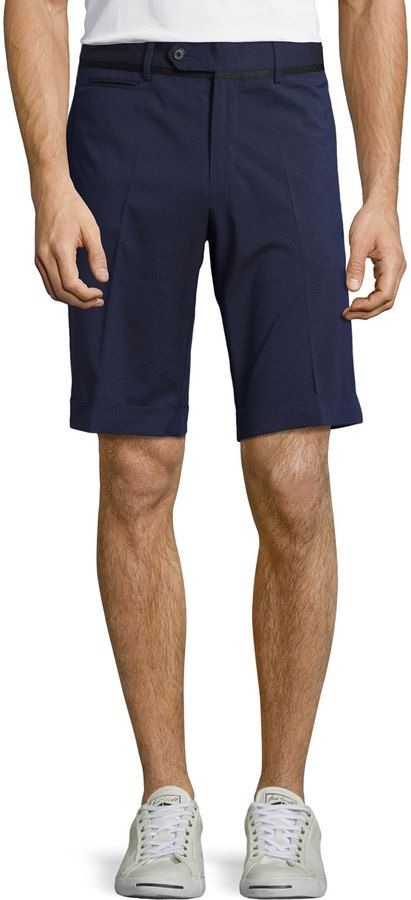 $78, J. Lindeberg J Lindeberg Casio Slim Fit Shorts Navy Purple. Sold by Last Call by Neiman Marcus. Click for more info: https://lookastic.com/men/shop_items/188990/redirect