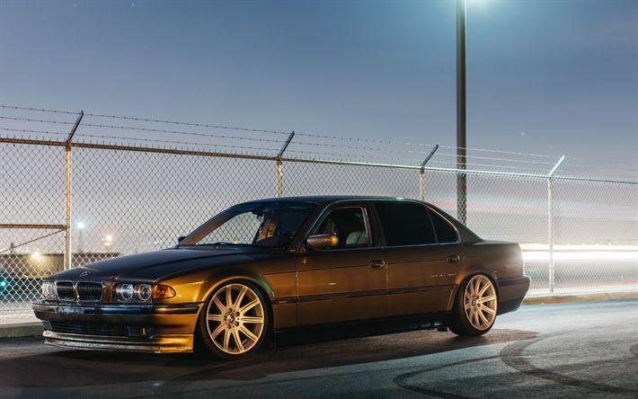 Descargar fondos de pantalla BMW serie 7, el ajuste de la postura, e38, la noche, el BMW