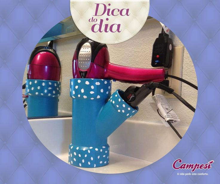 #DicaCampesí: já pensou em transformar um cano em um suporte para secador de cabelo? Veja que ideia bacana para o seu banheiro! ;D