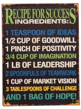Recipe For Success Quote Wall Art <3 So true, Good Inspiration... perfect for my home office!