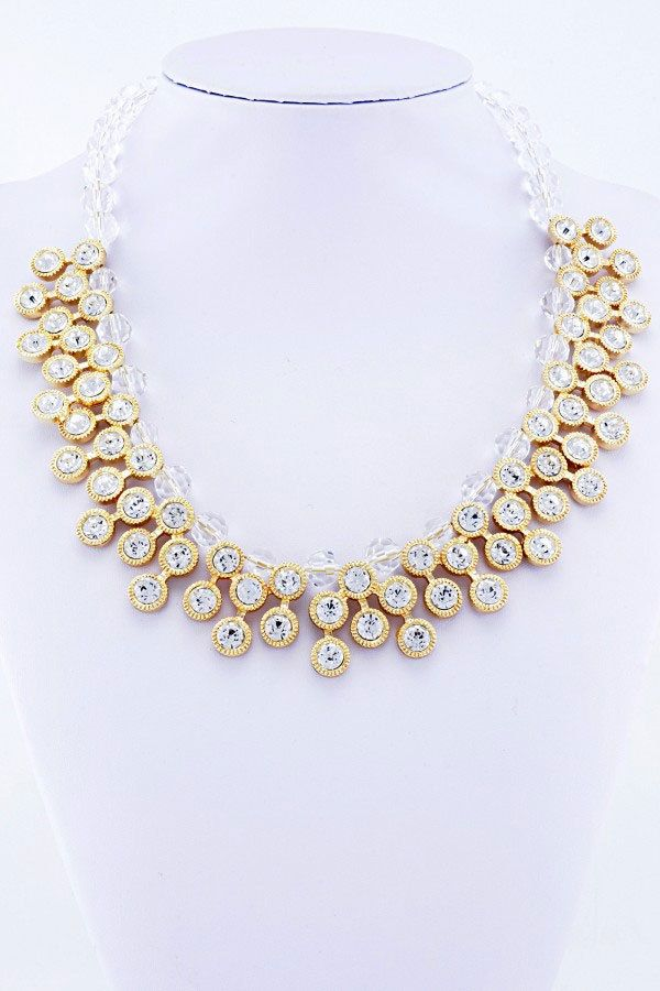 Gold Clear Bead & Sparking Diamante Statement Necklace UK