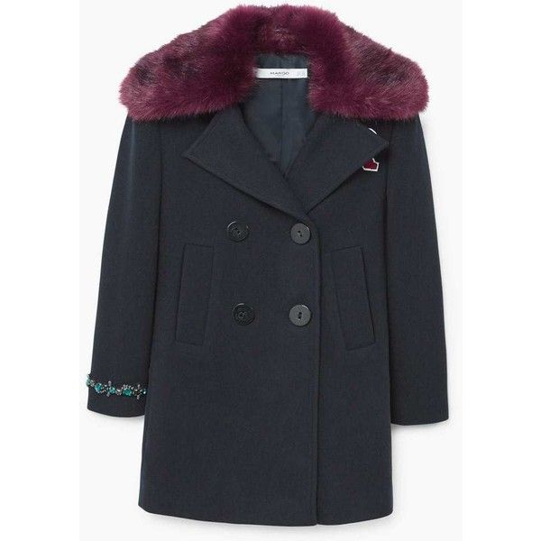 MANGO Faux fur neck appliqués coat ($150) ❤ liked on Polyvore featuring outerwear, coats, imitation fur coats, patch coat, fur-lined coats, fake fur lined coats and faux fur coat