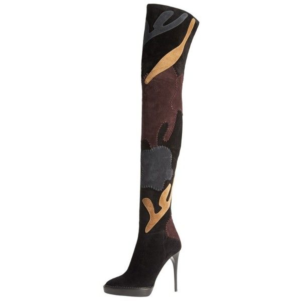 Burberry Over-the-Knee Suede Patchwork Boots ❤ liked on Polyvore featuring shoes, boots, burberry, heels, over the knee suede boots, heel boots, burberry boots, suede leather boots and over the knee boots