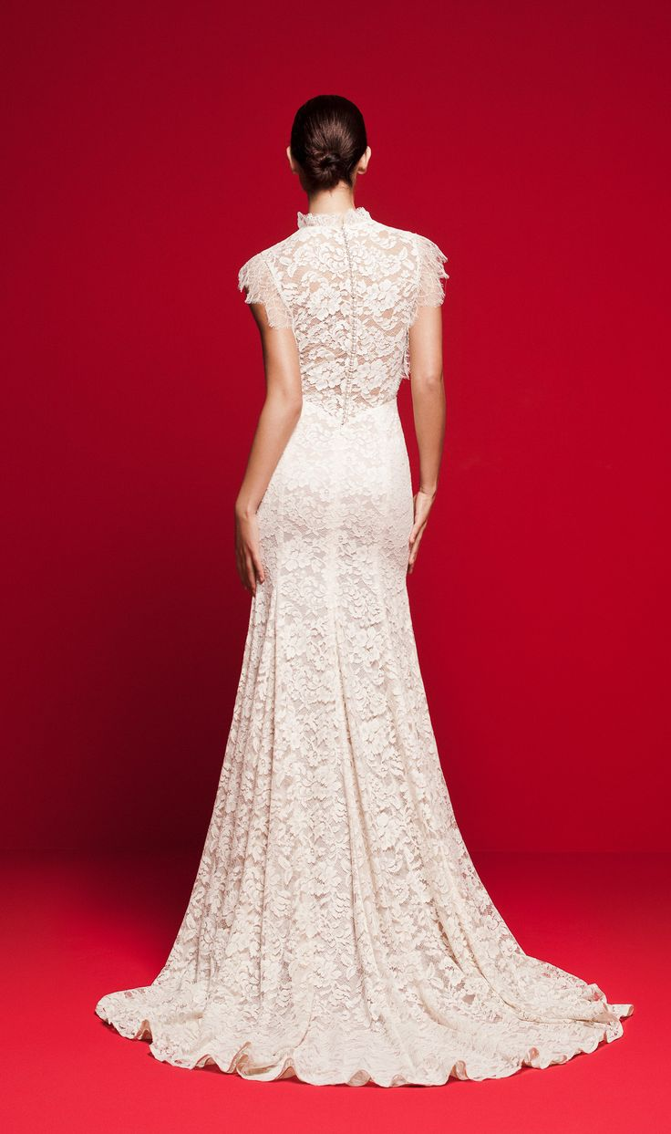 LVS 345 Full lace wedding gown with high neck, lace tiers and pearl buttons on the back