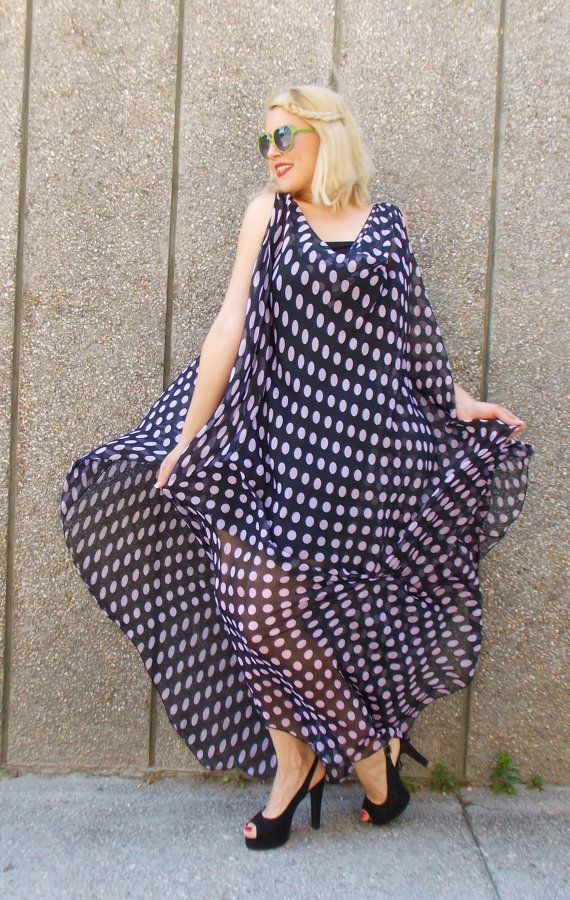 Maxi Black Polka Dot Dress / Plus Size Maxi Dress / Polka Dot Asymmetrical Chiffon Dress TDK75