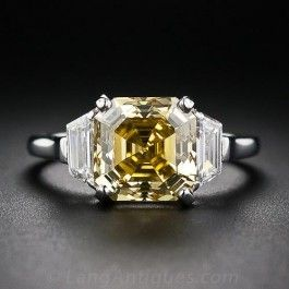 3.65 Carat Asscher-Cut Fancy Deep Orangy Yellow Diamond Ring  - Antique & Vintage Diamond Rings - Vintage Jewelry