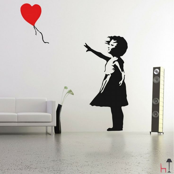 This bold wall sticker design is inspired by the iconic UK graffiti artist Banksy.
