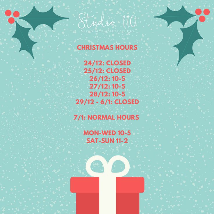 Don't forget about our Christmas Hours!