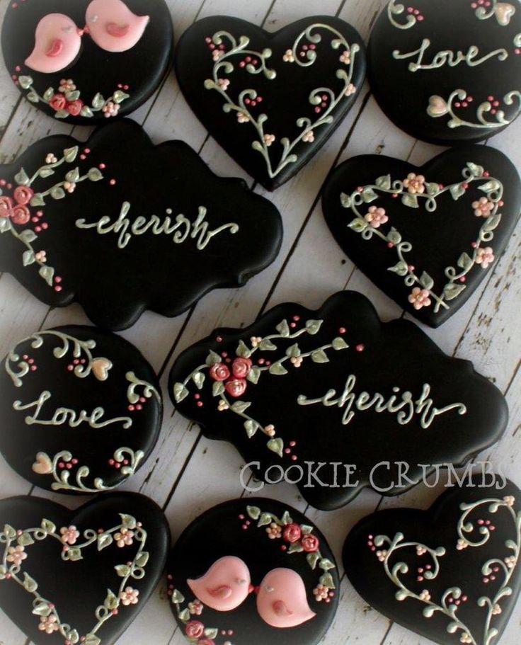 Día de San Valentín Floral Negro Galletas