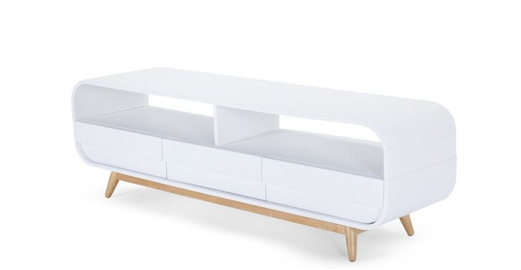 Esme, meuble TV, frêne et blanc
