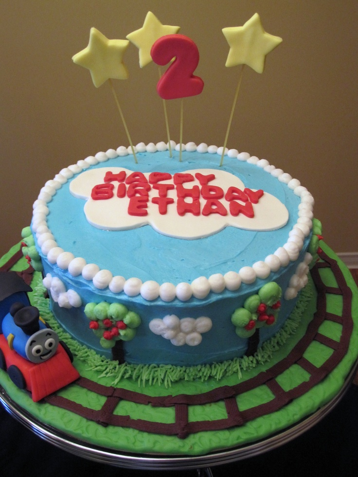 Thomas Birthday Cake - Buttercream covered cake with fondant accents.