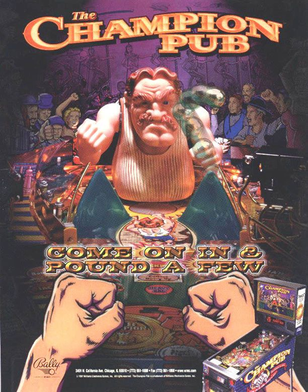 Bally CHAMPION PUB 1998 Original NOS Flipper Pinball Machine Promo Sales Flyer #Bally