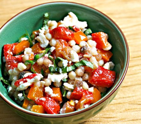 Fregula sarda is a pearl pasta that's toasted after it's dried, giving it a delicious nutty flavor. Try it in this veggie packed dish of Fregula Sarda with Roasted and Fresh Bell Peppers, Feta and Basil from The Perfect Pantry!