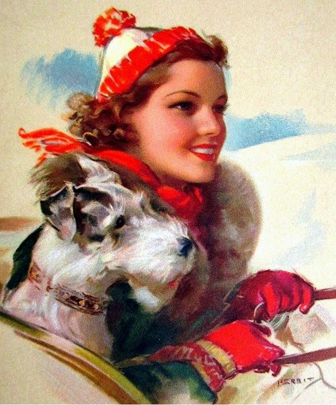 Vintage Christmas card - woman and Wirehair Fox Terrier