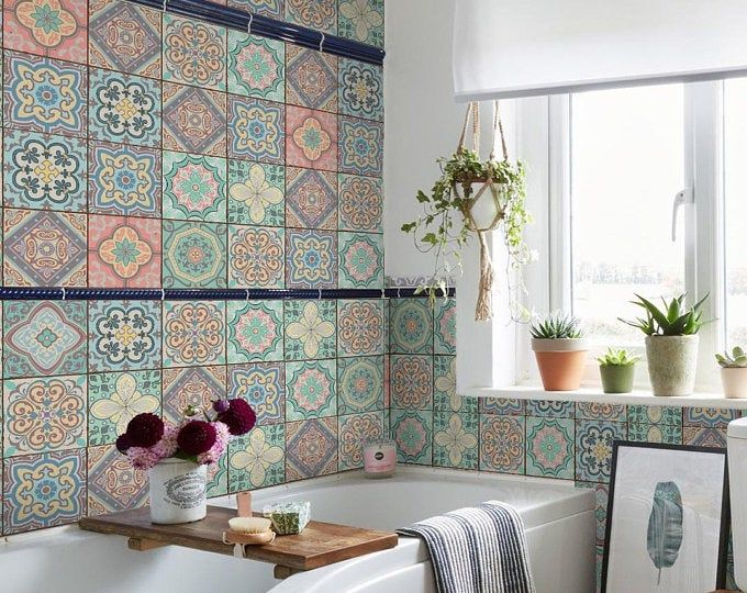 Mosaic Tile Stickers Wall Paper Vintage Victorian Moroccan Home Kitchen Decals