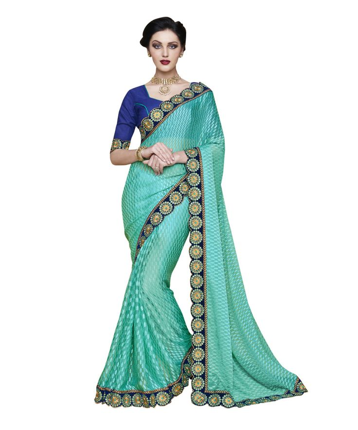 Buy Now Rama Fancy Embroidery Brasso Party Wear Saree With Dhupian Blouse only at Lalgulal.com. Price :- 2,320/- inr. To Order :- http://goo.gl/AOCfHI. COD & Free Shipping Available only in India