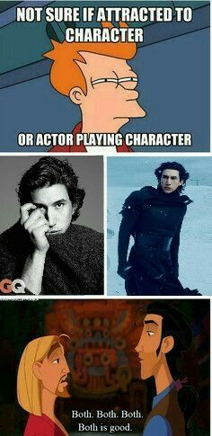 Hahaha!!! Is that why I like Kylo Ren?  Is it bad to find him extremely sexy if I have a man?