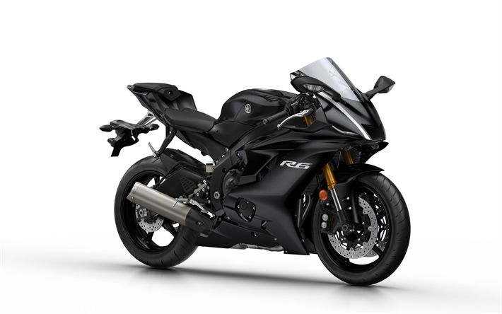 Download wallpapers Yamaha YZF-R6, 2018, sport motorcycle, black sportbike, black YZF-R6, 4k
