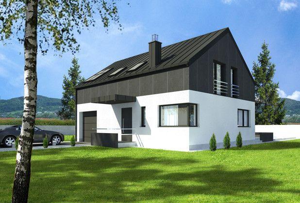 Prosta bryła, nowoczesna elewacja, projekt energooszczędny.116,79 m². Zobaczcie w jaki sposób doświetlono garaż.