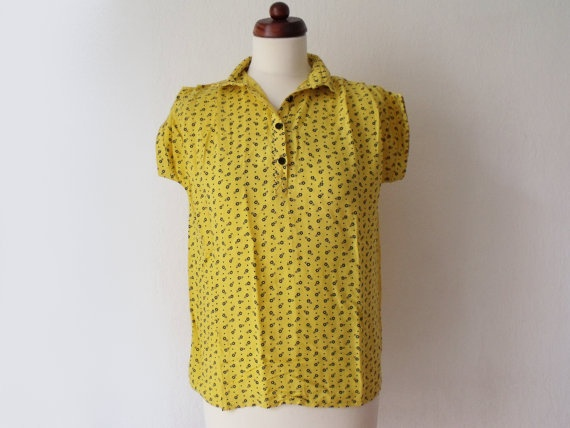 Yellow and Black Blouse  Vintage 1970's by PaperdollVintageShop, €14.90