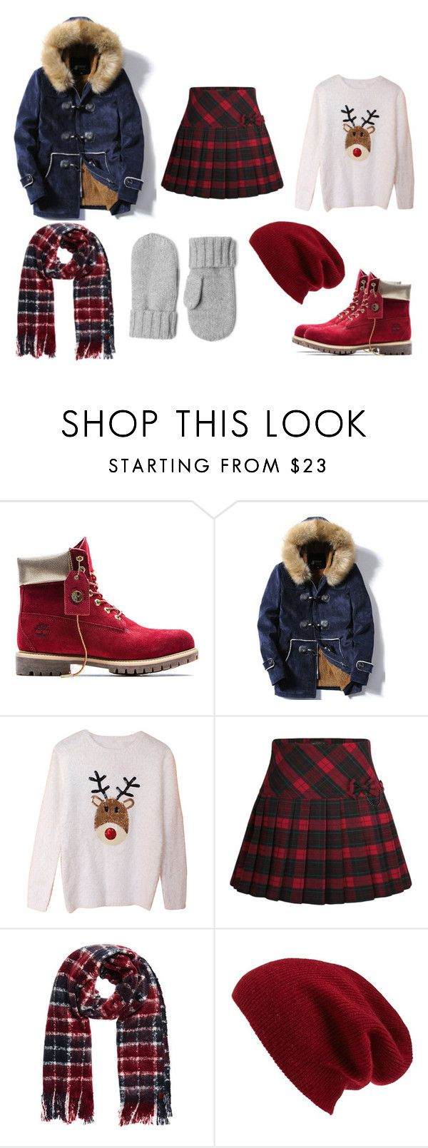 """""""Red plaid"""" by ustine on Polyvore featuring moda, Timberland i Halogen"""
