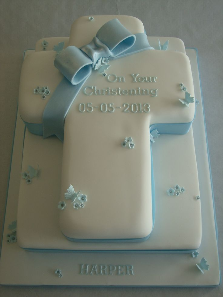 Two Tier Blue Cross Cake - Celebration Cakes - Cakeology